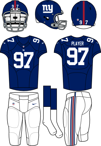 New York Giants Uniform Home Uniform (2013-Pres) - Blue helmet and jersey with white pants. Manufactured by Nike.  SportsLogos.Net