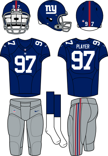 New York Giants Uniform Home Uniform (2012-Pres) - Blue helmet and jersey with gray pants. Manufactured by Nike. SportsLogos.Net