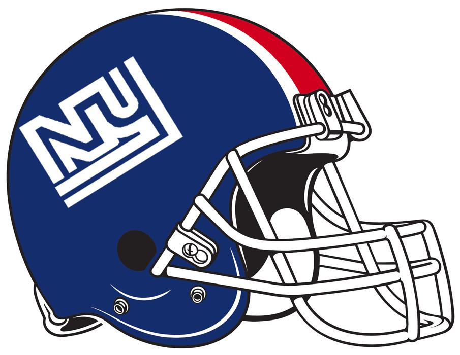 New York Giants Helmet Helmet (1975) - Blue helmet with red and white stripes.  Computer graphical representation courtesy Dustin Juliano. SportsLogos.Net