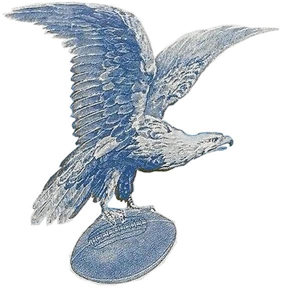 Philadelphia Eagles Logo Primary Logo (1933-1935) - Philadelphia Eagles first logo, a blue eagle flying grasping a football SportsLogos.Net