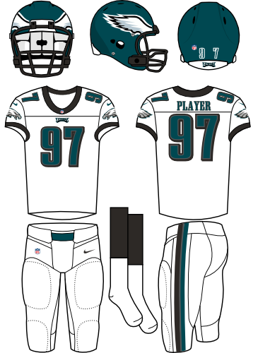 Philadelphia Eagles Uniform Road Uniform (2012-Pres) - Dark green helmet with white jersey and pants. Manufactured by Nike. SportsLogos.Net