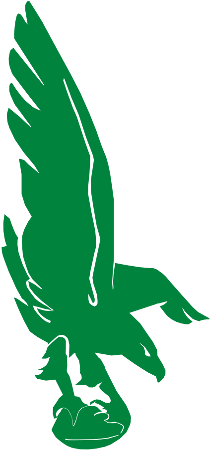 Philadelphia Eagles Logo Primary Logo (1942-1947) - A green eagle flying while holding a football in its claws SportsLogos.Net