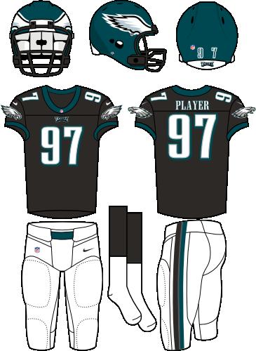 Philadelphia Eagles Uniform Alternate Uniform (2012-Pres) - Dark green helmet with black jersey and white pants. Manufactured by Nike. SportsLogos.Net