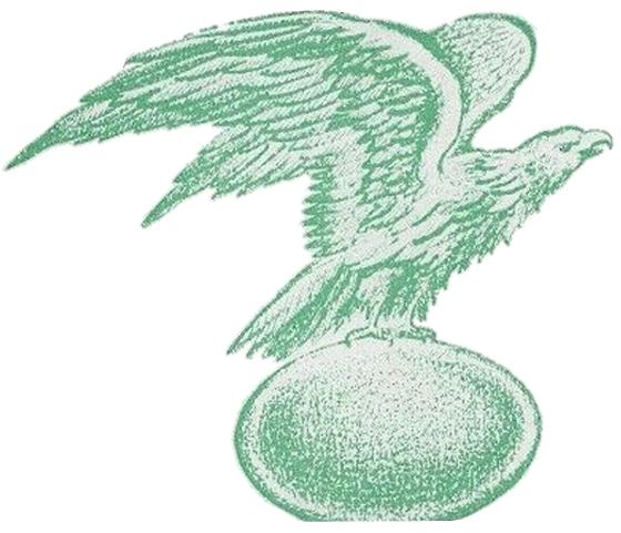 Philadelphia Eagles Logo Primary Logo (1936-1941) - A green an white eagle holding a football while taking off SportsLogos.Net