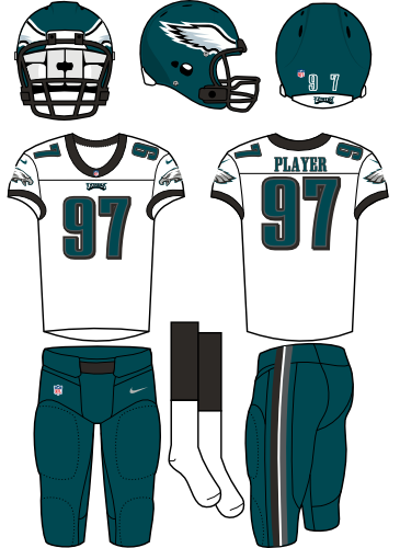 Philadelphia Eagles Uniform Road Uniform (2012-Pres) - Dark green helmet and pants with white jersey. Manufactured by Nike. SportsLogos.Net
