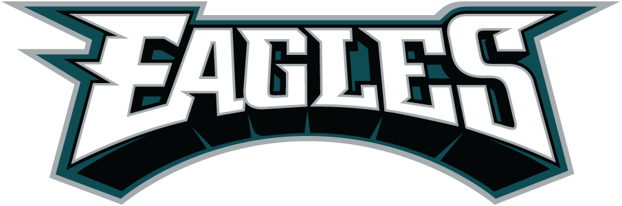 Philadelphia Eagles Logo Wordmark Logo (1996-Pres) - Eagles in white with black shadow and green and silver outlines SportsLogos.Net