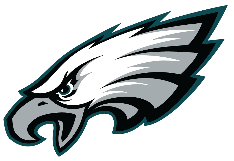 Philadelphia Eagles Logo Primary Logo (1996-Pres) - White bald eagle with silver beak plus black and green outlines SportsLogos.Net