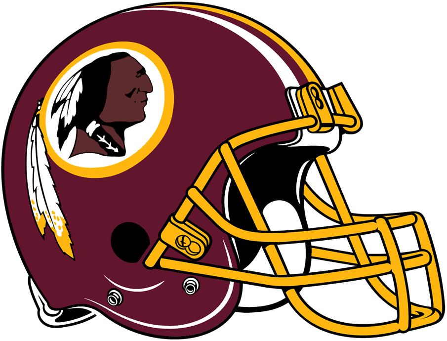 Washington Redskins Helmet Helmet (1978-2019) - Maroon with yellow facemask, a white, maroon, & yellow stripes SportsLogos.Net