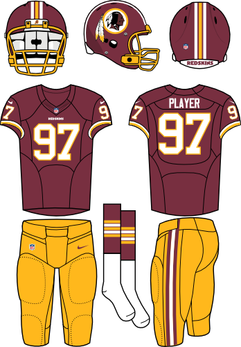 Washington Redskins Uniform Home Uniform (2012-2019) - Burgundy helmet and jersey with yellow pants. Manufactured by Nike.  SportsLogos.Net