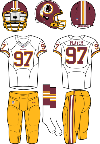Washington Redskins Uniform Road Uniform (2013-2019) - Burgundy helmet with white jersey and athletic gold pants. Manufactured by Nike. Collar changed from 2012 to 2013 SportsLogos.Net
