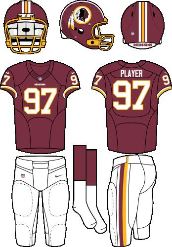 Washington Redskins Uniform Home Uniform (2012-2019) - Burgundy helmet and jersey with white pants. Manufactured by Nike. SportsLogos.Net