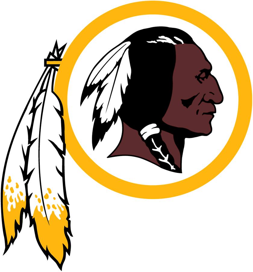 Washington Redskins Logo Primary Logo (1983-2019) - Native American head inside yellow circle with hanging feathers SportsLogos.Net