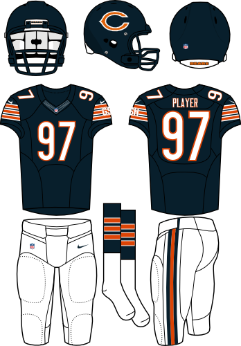 Chicago Bears Uniform Home Uniform (2012-Pres) - Dark navy helmet and jersey with white pants.