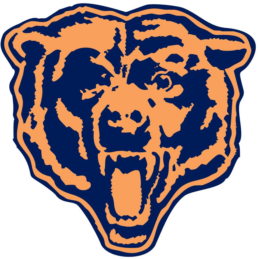Chicago Bears Logo Alternate Logo (1963-1998) - A blue and orange bear head roaring SportsLogos.Net