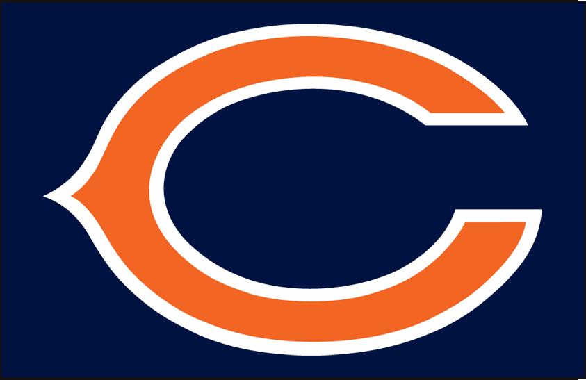 Chicago Bears Logo Primary Dark Logo (1974-Pres) - An orange wishbone C with white outline and on blue background. SportsLogos.Net