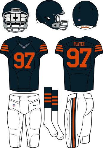 Chicago Bears Uniform Alternate Uniform (2012-Pres) - Dark navy helmet (with no logo) and jersey with white pants. Throwback era is being researched. Manufactured by Nike. SportsLogos.Net