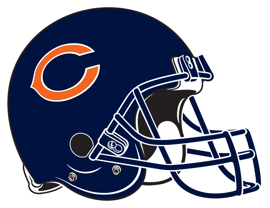 Chicago Bears Helmet Helmet (1983-Pres) - Navy blue helmet with orange wishbone C. Computer graphical representation courtesy Dustin Juliano SportsLogos.Net