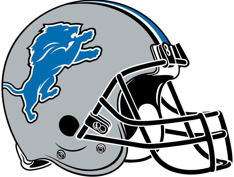 Detroit Lions Helmet Helmet (2009-2016) - Silver helmet with blue, white and black stripes and black facemask SportsLogos.Net