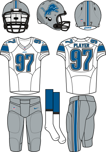 Detroit Lions Uniform Road Uniform (2012-2016) - Silver helmet and pants with a white jersey. Manufactured by Nike. SportsLogos.Net