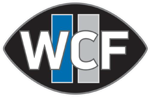 Detroit Lions Logo Memorial Logo (2014) - William Clay Ford Memorial Patch - WCF in white on a black football with blue and silver vertical stripes behind the initials (a nod to former Lions primary logo) SportsLogos.Net