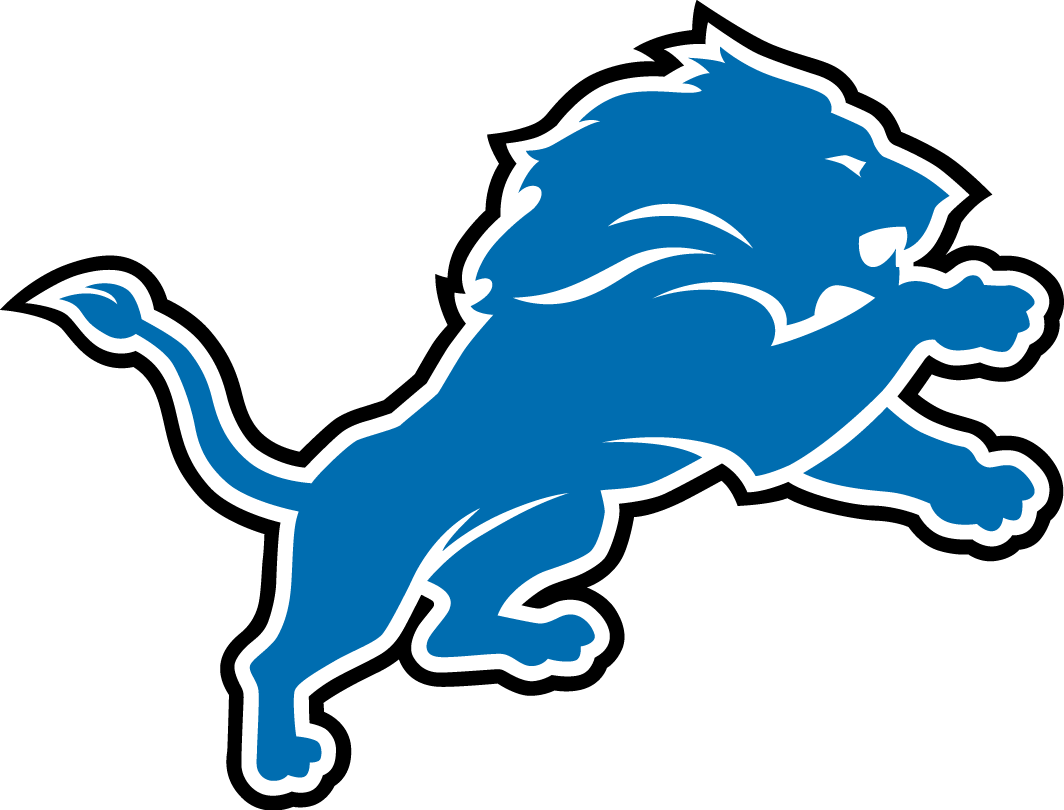 Detroit Lions Logo Primary Logo (2009-2016) - Lion with detail in blue, outlined in white and black SportsLogos.Net