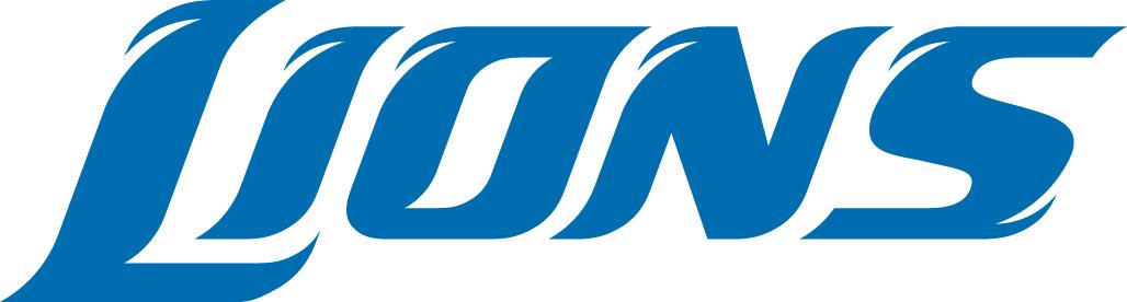 Detroit Lions Logo Wordmark Logo (2009-2016) - Lions written in blue italics SportsLogos.Net
