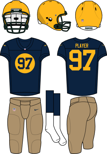 Green Bay Packers Uniform Alternate Uniform (2013-Pres) - Current yellow helmet (without stripes or logos) with throwback navy jersey (with yellow circle and numerals) and khaki pants. Manufactured by Nike. SportsLogos.Net