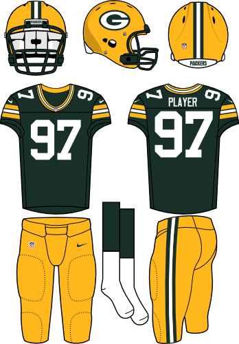 Green Bay Packers Uniform Home Uniform (2012-Pres) - Yellow helmet (primary logo on the side) and pants with dark green jersey. Manufactured by Nike. SportsLogos.Net