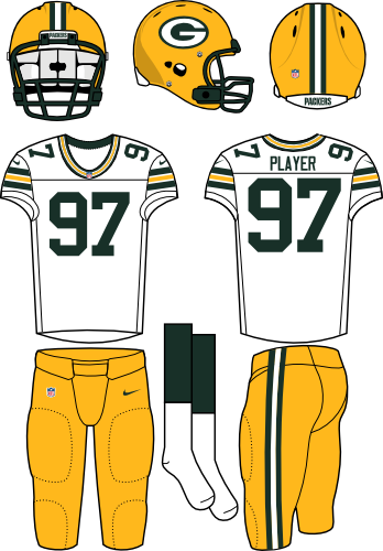 Green Bay Packers Uniform Road Uniform (2012-Pres) - Yellow helmet (primary logo on the side) and pants with a white jersey. Manufactured by Nike. SportsLogos.Net