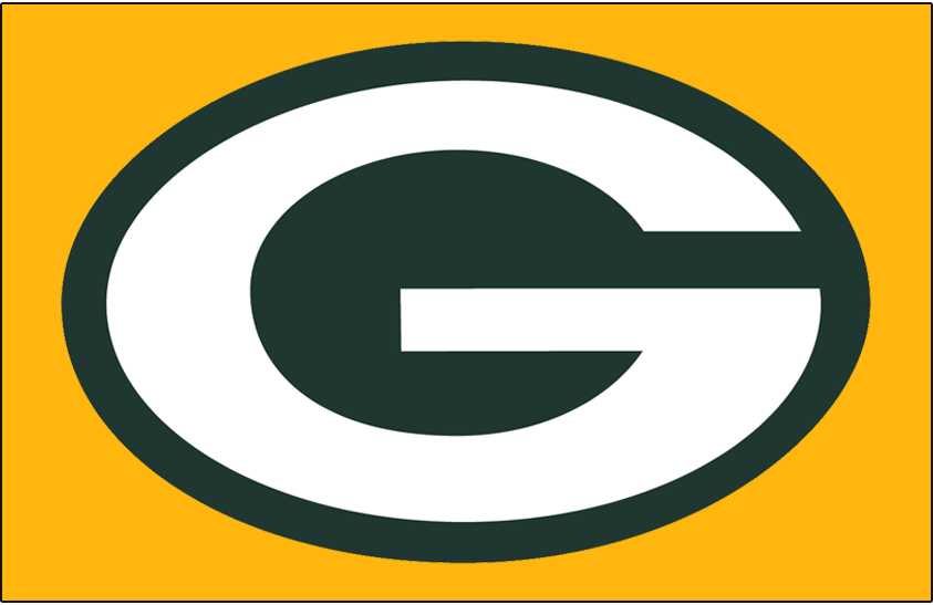 Green Bay Packers Logo Primary Dark Logo (1970-Pres) - Green Bay Packers primary logo on gold SportsLogos.Net