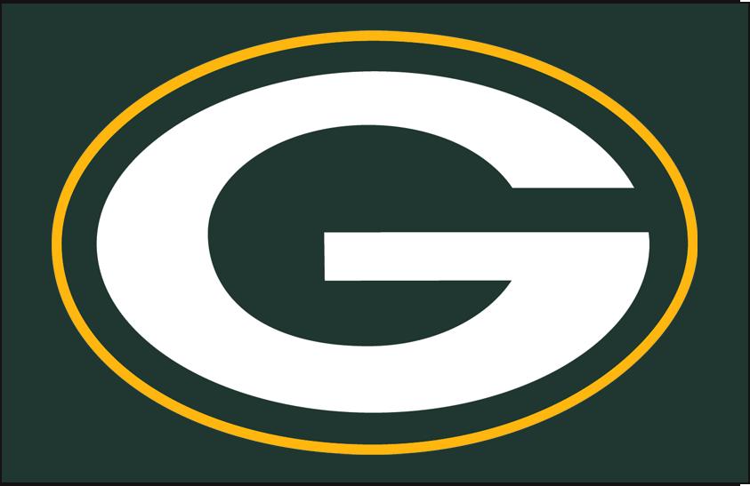 Green Bay Packers Logo Primary Dark Logo (1980-Pres) - Green Bay Packers primary logo on green SportsLogos.Net