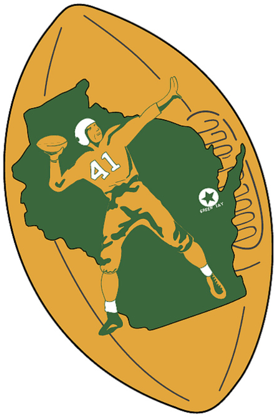 Green Bay Packers Logo Primary Logo (1956-1961) - Quarterback with backdrop of green Wisconsin on yellow football SportsLogos.Net