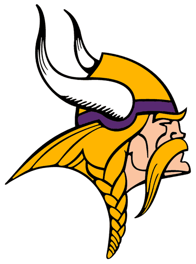 Minnesota Vikings Logo Primary Logo (1997-2001) - Known as The Norseman, the Minnesota Vikings primary logo shows the profile of a viking with long gold, braided hair, a large moustache, and bushy eyebrows wearing a gold and purple helmet with two white horns -- one on either side of the helmet. The Vikings have used this logo in varying colour schemes since their inaugural season, this version here was in use from 1997 to 2001, the shade of purple was lightened and the gold darkened for the 1997 season. SportsLogos.Net