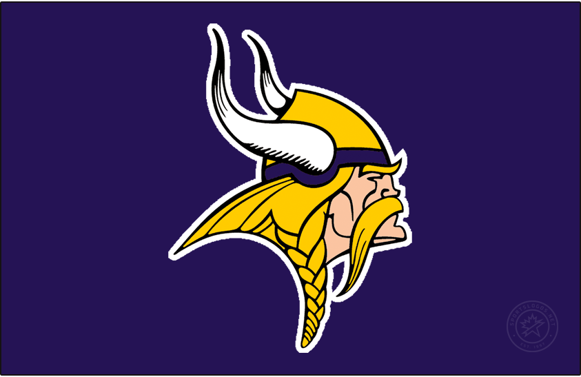 Minnesota Vikings Logo Primary Dark Logo (1966-1996) - Known as The Norseman, the Minnesota Vikings primary logo shows the profile of a viking with long gold, braided hair, a large moustache, and bushy eyebrows wearing a gold and purple helmet with two white horns -- one on either side of the helmet. The Vikings have used this logo in varying colour schemes since their inaugural season, this version here was in use from 1966 through 1996 before the shades of purple and gold were both adjusted in 1997. SportsLogos.Net