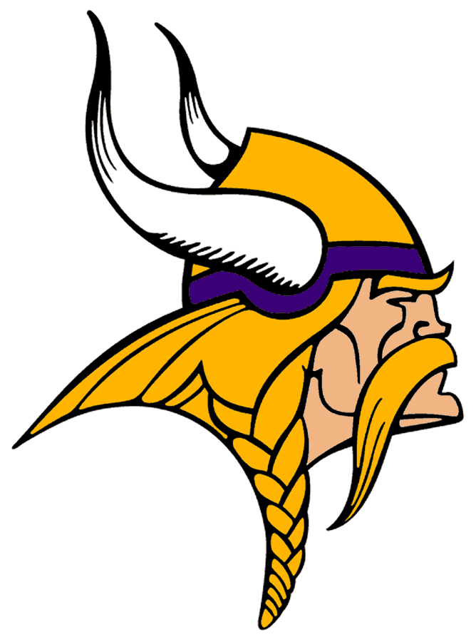 Minnesota Vikings Logo Primary Logo (2002-2009) - Known as The Norseman, the Minnesota Vikings primary logo shows the profile of a viking with long gold, braided hair, a large moustache, and bushy eyebrows wearing a gold and purple helmet with two white horns -- one on either side of the helmet. The Vikings have used this logo in varying colour schemes since their inaugural season, this version here was in use from 2002 to 2009, the shade of purple and the skin tone were both darkened slightly for the 2002 season. SportsLogos.Net