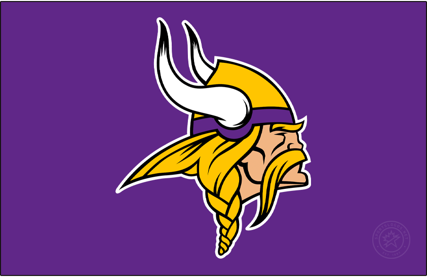 Minnesota Vikings Logo Primary Dark Logo (2013-Pres) - Known as The Norseman, the Minnesota Vikings primary logo shows the profile of a viking with long gold, braided hair, a large moustache, and bushy eyebrows wearing a gold and purple helmet with two white horns -- one on either side of the helmet. The Vikings have used this logo in varying colour schemes since their inaugural season. This version here was first used in 2013 and came with several modifications most notably to the horns as well as the overall shape of the logo, especially in the lower left by the hair. SportsLogos.Net