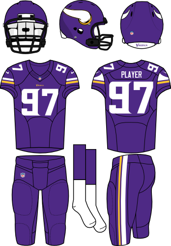 Minnesota Vikings Uniform Home Uniform (2013-Pres) - Purple helmet with Viking horn on the sides with purple jersey and purple pants. Manufactured by Nike. SportsLogos.Net