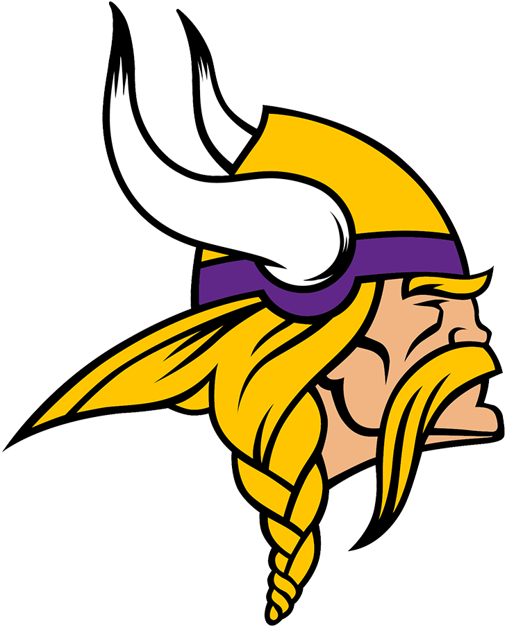 Minnesota Vikings Logo Primary Logo (2013-Pres) - Known as The Norseman, the Minnesota Vikings primary logo shows the profile of a viking with long gold, braided hair, a large moustache, and bushy eyebrows wearing a gold and purple helmet with two white horns -- one on either side of the helmet. The Vikings have used this logo in varying colour schemes since their inaugural season. This version here was first used in 2013 and came with several modifications most notably to the horns as well as the overall shape of the logo, especially in the lower left by the hair. SportsLogos.Net