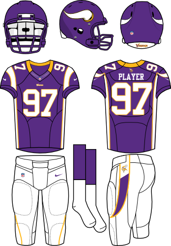 Minnesota Vikings Uniform Home Uniform (2012) - Purple helmet (with horn on the side) and jersey (accented in white) with white pants. Manufactured by Nike. SportsLogos.Net