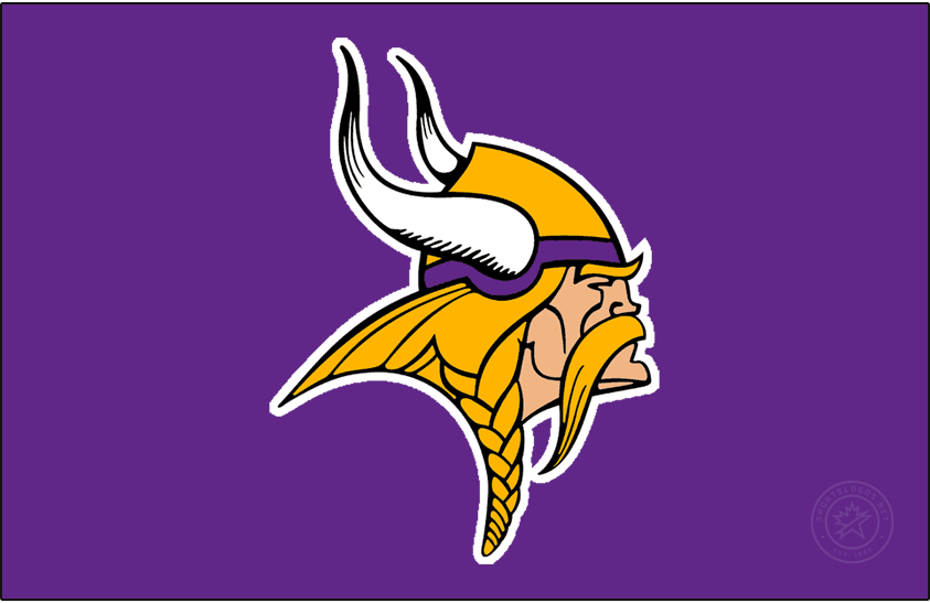 Minnesota Vikings Logo Primary Dark Logo (2010-2012) - Known as The Norseman, the Minnesota Vikings primary logo shows the profile of a viking with long gold, braided hair, a large moustache, and bushy eyebrows wearing a gold and purple helmet with two white horns -- one on either side of the helmet. The Vikings have used this logo in varying colour schemes since their inaugural season, this version here was in use from 2010 to 2012, the shade of purple was lightened for the 2010 season. In 2013 the logo got a bit of a makeover with updates to the horns among other elements. SportsLogos.Net