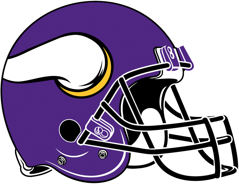 Minnesota Vikings Helmet Helmet (2013-Pres) - Matte purple helmet, white and gold horn with black facemask SportsLogos.Net