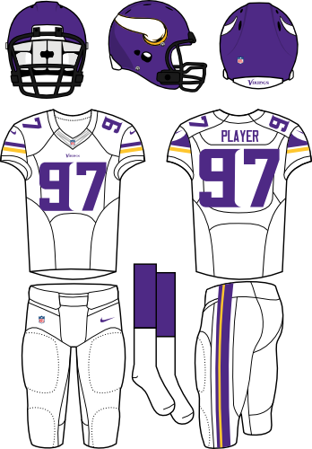 Minnesota Vikings Uniform Road Uniform (2013-Pres) - Purple helmet with Viking horn on the sides with white jersey and white pants. Manufactured by Nike. SportsLogos.Net