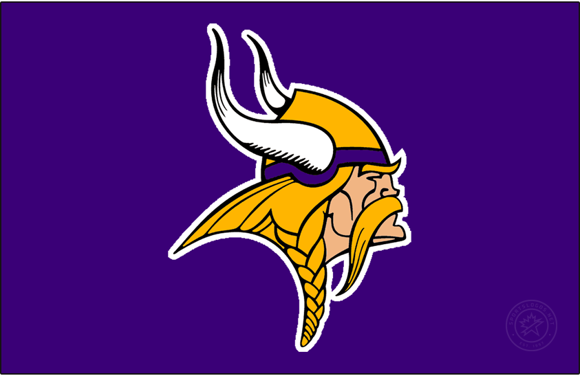 Minnesota Vikings Logo Primary Dark Logo (2002-2009) - Known as The Norseman, the Minnesota Vikings primary logo shows the profile of a viking with long gold, braided hair, a large moustache, and bushy eyebrows wearing a gold and purple helmet with two white horns -- one on either side of the helmet. The Vikings have used this logo in varying colour schemes since their inaugural season, this version here was in use from 2002 to 2009, the shade of purple and the skin tone were both darkened slightly for the 2002 season. SportsLogos.Net
