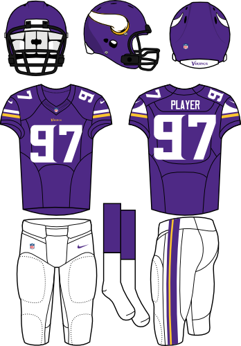 Minnesota Vikings Uniform Home Uniform (2013-Pres) - Purple helmet with Viking horn on the sides with purple jersey and white pants. Manufactured by Nike. SportsLogos.Net
