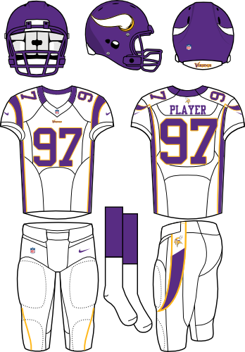 Minnesota Vikings Uniform Road Uniform (2012) - Purple helmet (with horn on the side) with white jersey (accented in purple) and white pants. Manufactured by Nike. SportsLogos.Net