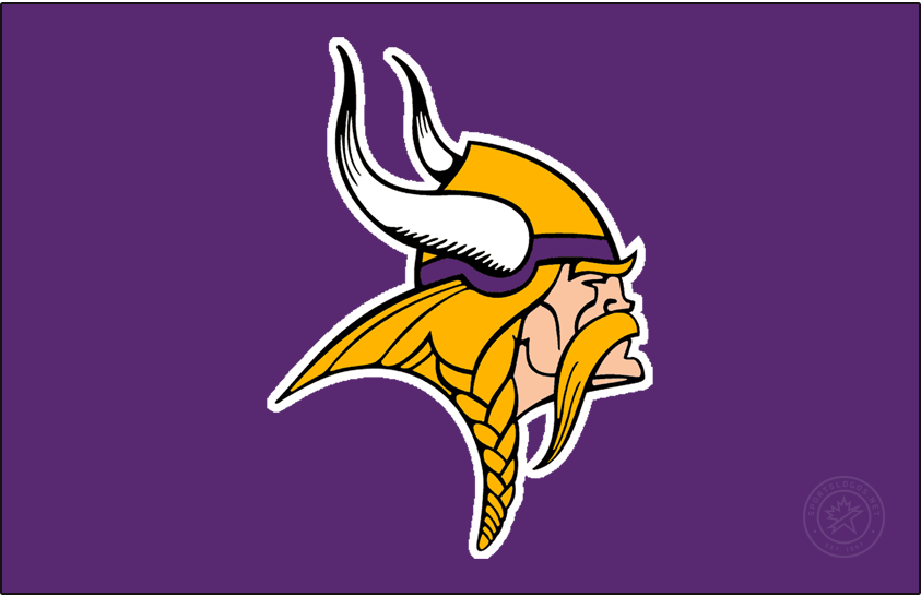 Minnesota Vikings Logo Primary Dark Logo (1997-2001) - Known as The Norseman, the Minnesota Vikings primary logo shows the profile of a viking with long gold, braided hair, a large moustache, and bushy eyebrows wearing a gold and purple helmet with two white horns -- one on either side of the helmet. The Vikings have used this logo in varying colour schemes since their inaugural season, this version here was in use from 1997 to 2001, the shade of purple was lightened and the gold darkened for the 1997 season. SportsLogos.Net