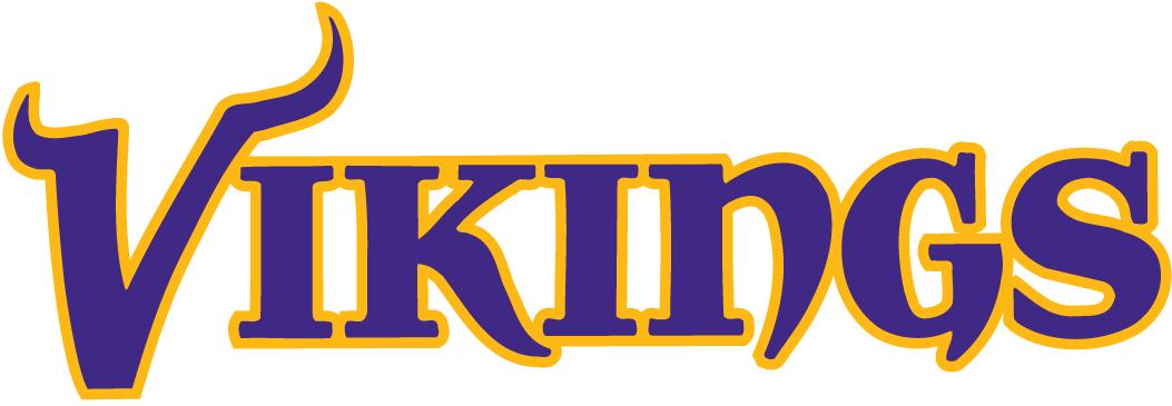 Minnesota Vikings Logo Wordmark Logo (2004-2009) - Vikings in a fancy purple caligraphy with yellow outline SportsLogos.Net