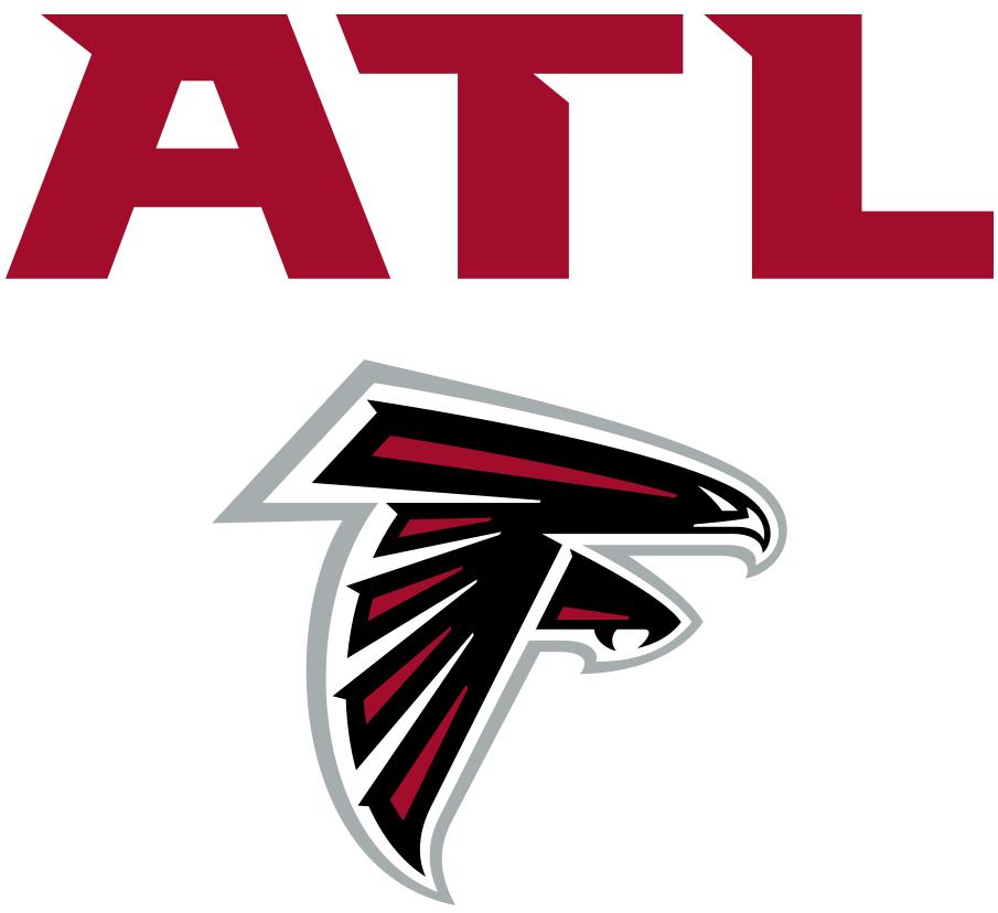 Atlanta Falcons Logo Wordmark Logo (2020-Pres) - ATL in red above Falcons primary logo SportsLogos.Net