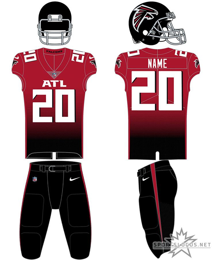 Atlanta Falcons Uniform Alternate Uniform (2020-Pres) - Red jersey with a black gradient, paired with black pants, ATL across the chest in white SportsLogos.Net