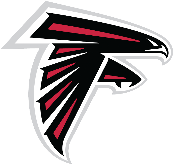 Atlanta Falcons Logo Primary Logo (2003-Pres) - A black and red falcon outlined in silver forming the letter F SportsLogos.Net
